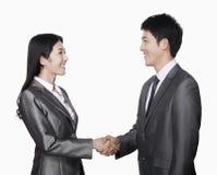 Coworkers handshaking Stock Photos