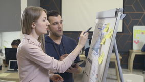 Coworkers have a discussion using flip chart stock video footage