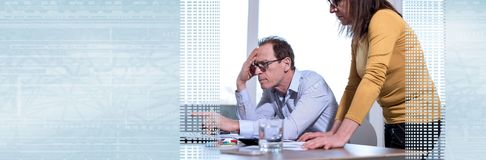 Coworkers having a business discussion. panoramic banner royalty free stock image