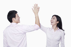 Coworkers high-five Royalty Free Stock Image