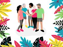 Coworkers hold hands between collaboration and colleagues before starting work to brainstorming, strengthen relationships and unit. E royalty free illustration
