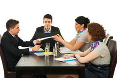 Coworkers at meeting Stock Photos