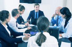 Coworkers meeting at conference room Stock Photo