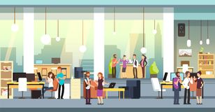 Coworkers in office. People in coworking open space office, workspace. Employees talking and brainstorming vector. Background. Illustration of office workspace royalty free illustration