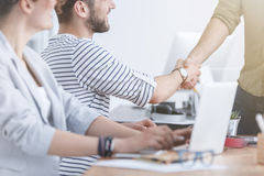 Coworkers reaching agreement Royalty Free Stock Image