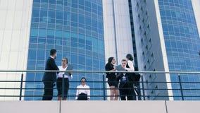 Coworkers som möter sig på terrassen stock video