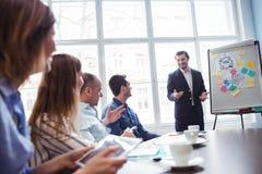 Coworkers som ser le affärsmannen som ger presentation royaltyfri bild