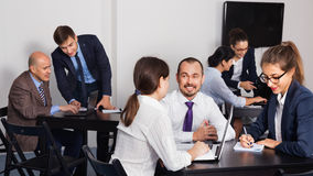 Coworkers working effectively on business project together. Glad cheerful positive coworkers working effectively on business project together Royalty Free Stock Images