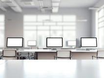 Coworking与多个屏幕的办公室内部 3d翻译 库存图片
