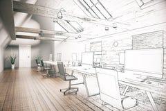 Coworking办公室未完成的项目 免版税库存照片