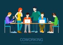 Coworking平的网infographic概念传染媒介 库存照片