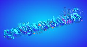 Coworking Το Isometric τρισδιάστατο Word Δημιουργική ροή της δουλειάς ελεύθερη απεικόνιση δικαιώματος
