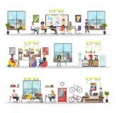 Coworking byggnadsinre royaltyfri illustrationer