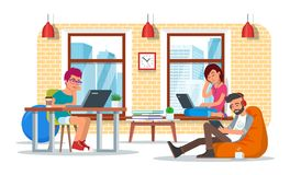 Coworking center concept vector illustration, flat style design Stock Photos