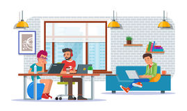 Coworking center concept vector illustration, flat style design Royalty Free Stock Photos