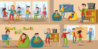 Coworking Center Horizontal Banners. With talking and discussing people sharing working environment vector illustration Stock Images