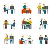 Coworking Center Icons Royalty Free Stock Photo