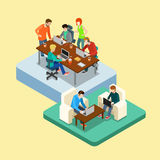 Coworking flat 3d web isometric infographic concept  Royalty Free Stock Photography