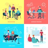 Coworking Flat Design Concept. Creative team coworking people gradient flat design concept with human characters working process symbols and pictograms vector Royalty Free Stock Photos