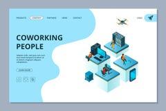 Coworking het landen Van de bedrijfs webpaginaontwerpsjabloon mensenteam het samenkomen en de brainstormingsvector van de bouwman vector illustratie
