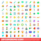 100 coworking icons set, cartoon style Royalty Free Stock Photography