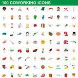 100 coworking icons set, cartoon style Stock Photos