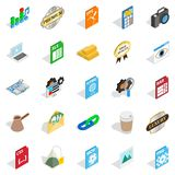 Coworking icons set, isometric style. Coworking icons set. Isometric set of 25 coworking vector icons for web isolated on white background Royalty Free Stock Photo