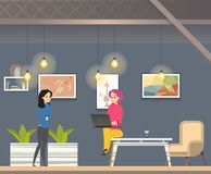 Coworking in Informal Open Space Modern Office royalty free illustration