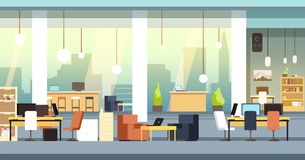 Coworking interior. Empty open space office, workspace vector background. Workspace and workplace center, business space coworking illustration royalty free illustration