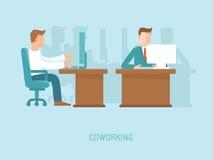 Coworking Konzept des Vektors in der flachen Art Lizenzfreies Stockbild