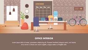 Coworking Modern Creative Office Interior Design. Open Space Studio Shared Workplace Loft Style. Furniture Beanbag Chair, Scrum Board, Laptop on Working Desk royalty free illustration