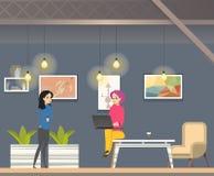 Coworking nell'ufficio moderno dello spazio aperto informale royalty illustrazione gratis