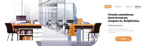 Coworking office interior modern center creative workplace environment horizontal banner copy space empty workspace flat. Vector illustration stock illustration