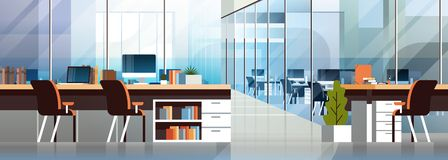 Coworking office interior modern center creative workplace environment horizontal banner empty workspace flat. Vector illustration vector illustration
