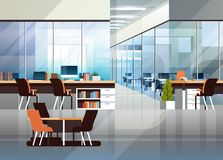 Coworking office interior modern center creative workplace environment horizontal empty workspace flat. Vector illustration royalty free illustration