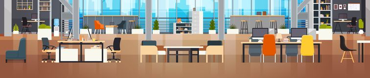 Coworking Office Interior Modern Coworking Center Creative Workplace Environment Horizontal Banner. Flat Vector Illustration royalty free illustration