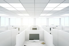 Coworking office. Modern coworking office interior with partitions and computers. 3D Rendering Royalty Free Stock Images