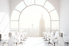 Coworking office with NY view. Contemporary coworking office interior with New York city view. 3D Rendering Royalty Free Stock Photo