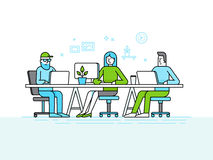 Coworking office space - creative team of people working at the royalty free illustration