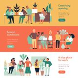 Coworking People Banners Set stock illustration