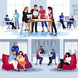 Coworking People Flat Compositions. With group of young creative persons working together and discussing problem vector illustration Royalty Free Stock Images