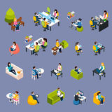 Coworking People Icons Set. Coworking freelance people isometric icons set with work symbols isolated vector illustration stock illustration