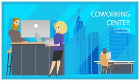 Coworking Reception Man Invite Woman Banner royalty free illustration