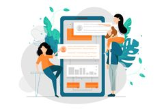 Coworking with smartphone. Search partners for joint work. Vector illustration Stock Photos