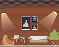 Coworking Space Center Creative Studio Interior. Cozy Office Design Loft Style. Shared Workplace for Freelancer with Beanbag Chair, Comfortable Couch. Flat royalty free illustration
