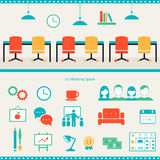 Coworking Space Header and Infographics Elements Stock Images