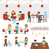 Coworking space infographic elements vector flat design illustration. Creative people working together in workspace. Man and woman working at the computers Stock Image