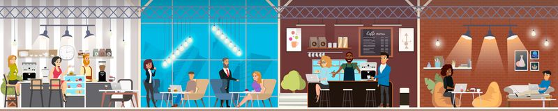 Coworking Space with Working People Vector Concept royalty free illustration