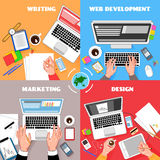 Coworking Square Compositions Set. Coworking top view colorful square compositions set with office accesories laptops gadgets writing typing cartoon hands vector Royalty Free Stock Photography