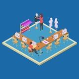 Coworking utrymme för formgivare Isometriskt begrepp för ateliergruppvektor royaltyfri illustrationer